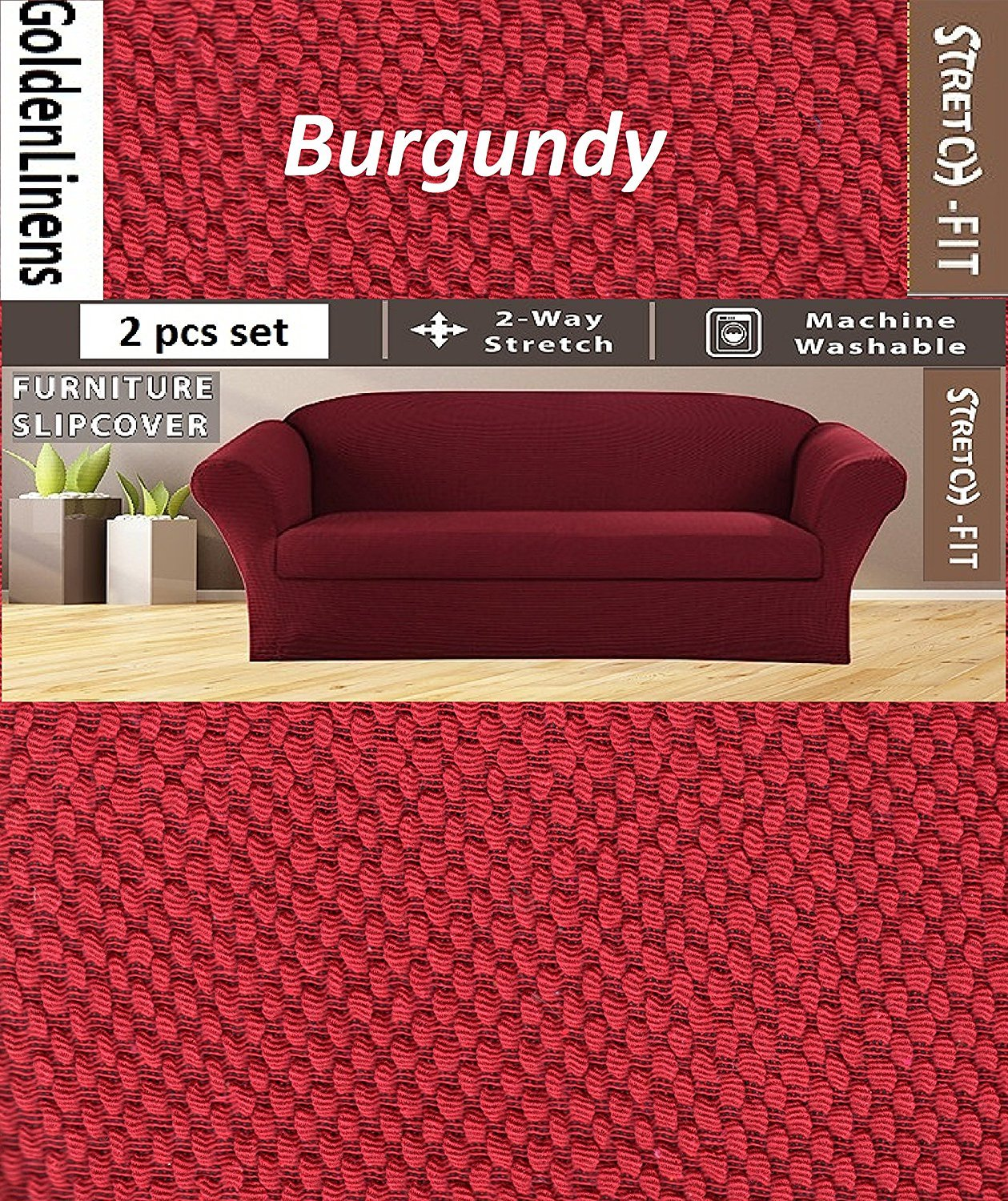 E&A LINEN STRETCH FORM FIT - 3 Pc. Slipcovers Set, Couch/Sofa Loveseat Chair Covers (BURGUNDY) E&A LINEN CORP.