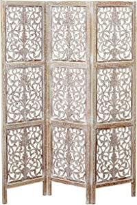 Key West Screen, Room Divider, Carved Floral Motifs, 3 Panels, Vintage Style, Rustic Brown, White Wash Distressed Finish, Sustainable Wood, Approx. 6 Ft Tall, 59 Inches Wide, Privacy Screen