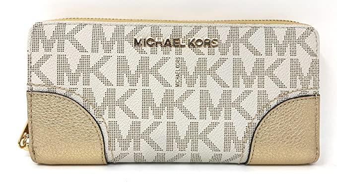 8387085007feba Michael Kors Hattie Zip Continental PVC Signature Wallet (Vanilla/Pale  Gold) at Amazon Women's Clothing store: