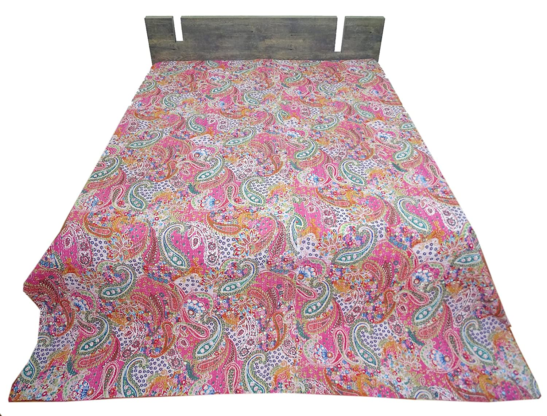 Bhavya International 100% Cotton King Size Kantha Quilt Throw Handmade Bedspread Blanket Gudari