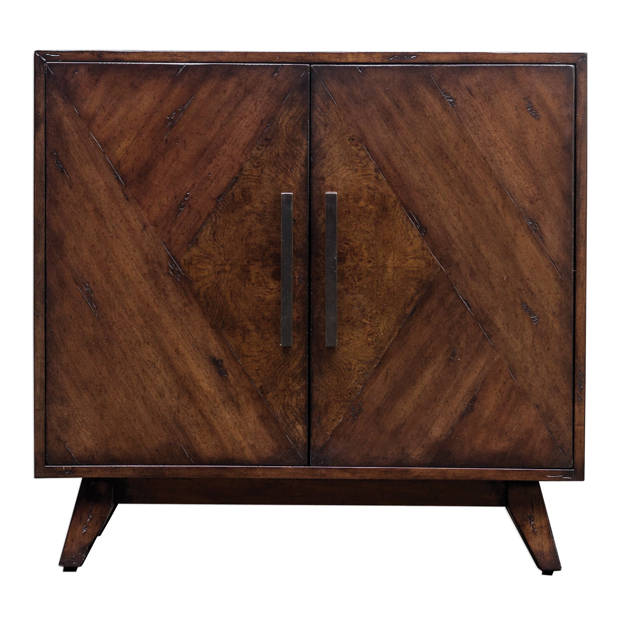 Elegant Geometric Pieced Burl Wood Accent Cabinet   Mid Century Modern Table