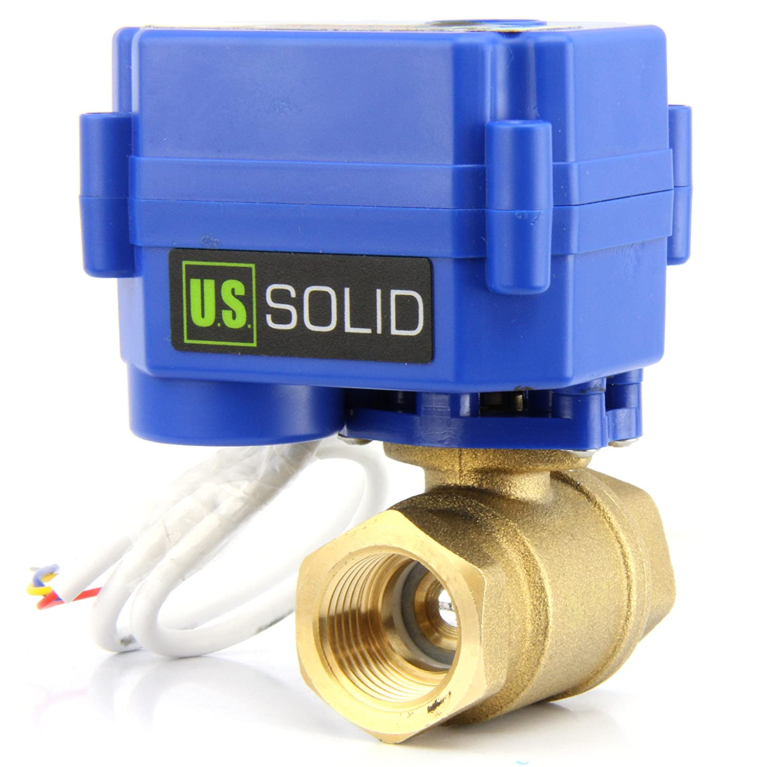 """Amazon.com: Motorized Ball Valve- 1/2"""" Brass Electrical Ball Valve with  Full Port, 9-24V AC/DC and 3 Wire Setup by U.S. Solid: Home Improvement"""