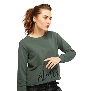 fdb625b65ee ZEYO Women Cotton Olive Green & Queen Pink Crop Top Full Sleeve Round Neck  Solid PlainTees