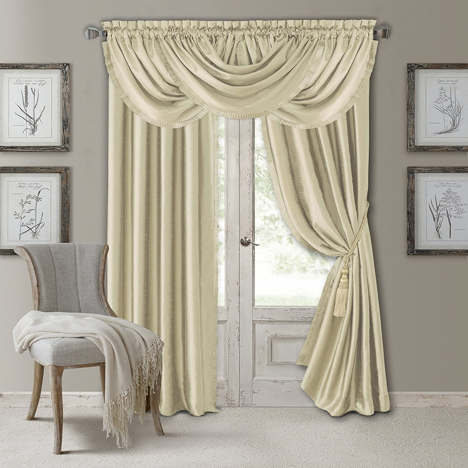 "Elrene Home Fashions Versailles Faux Silk Room Darkening & Energy Efficient Lined Rod Pocket Window Curtain Drape Pleated Solid Panel, 52"" x 84"" (1, Ivory"