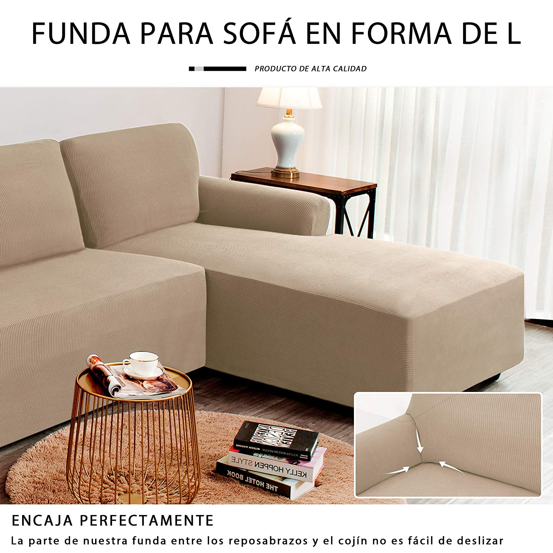 Arena subrtex Funda Sofa Chaise Longue Brazo Derecho Elastica Largo Protector para Sofa Chaise Longue Derecha Antimanchas Ajustable
