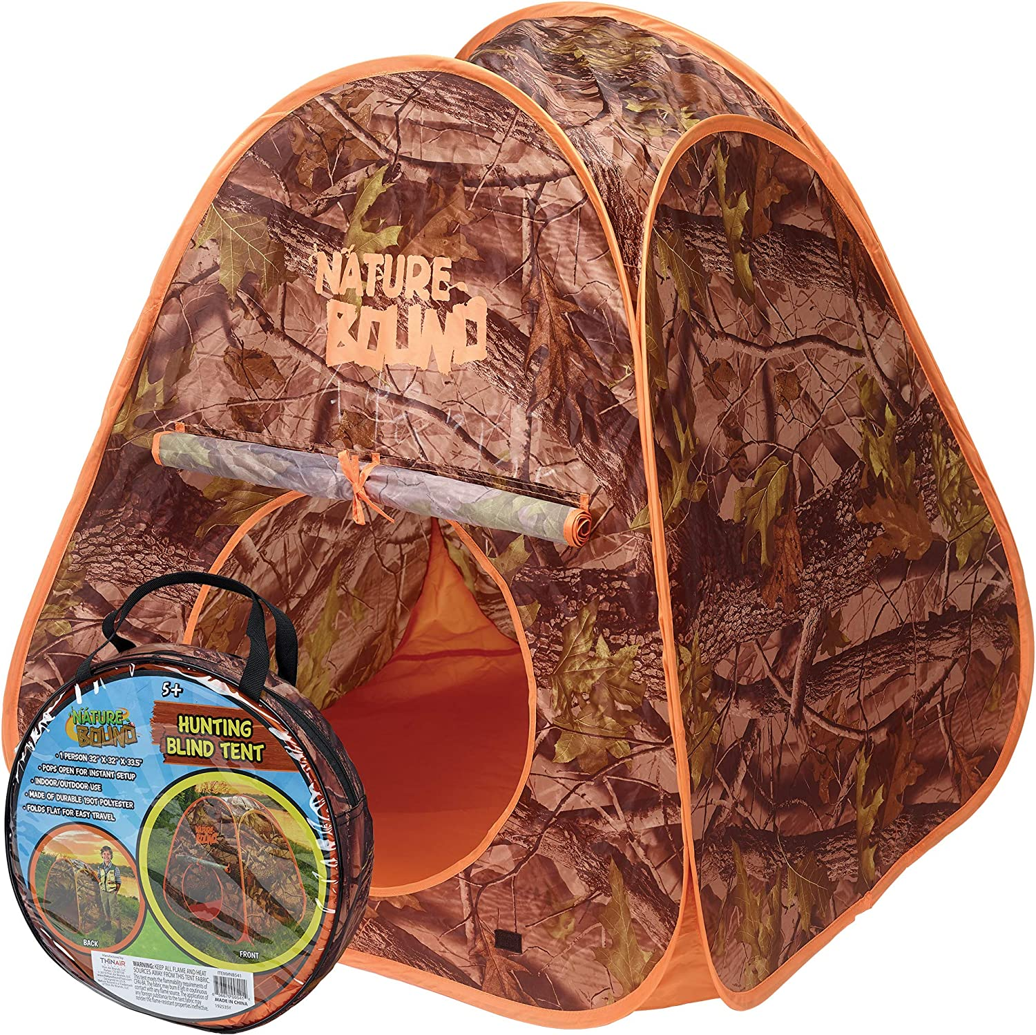 Nature Bound Kids Playhouse Pop Up Hunting Blind Tent for Indoor or Outdoor Use, 32 Inches Long, 32 Inches Wide, 35.5 Inches High, for Boys and Girls Ages 5+, Camoflauge (NB541)