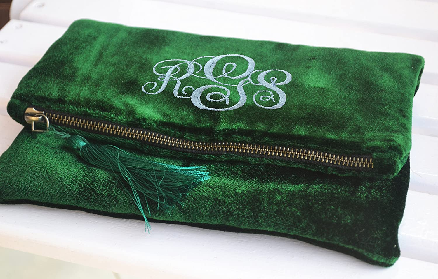 Emerald Green Fold Over Pouch, Monogram Fold Over Bag, Personalized Velvet Bags