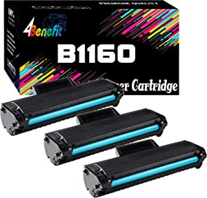 3-Pack 4Benefit Compatible Toner Cartridge Replacement for Dell YK1PM 1160 331-7335 HF44N HF442 to use with Dell B1160 B1160w B1163w B1165nfw Laser Printers (Black)