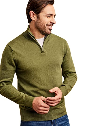 a12ab5590753e2 Woolovers Mens Cashmere Merino Long Sleeve Premium Fine Knit Zip ...