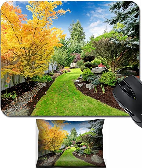 MSD Mouse Wrist Rest And Small Mousepad Set, 2pc Wrist Support Design  29688509 Beautiful Backyard
