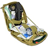"""Lightning X Products Premium Nylon MOLLE Emergency Kit, Ideal for Tactical Medics, Military, Outdoor Enthusiasts (8"""" x 6.5"""" x 3"""", Quikclot and CAT Tourniquet for Gunshot Wounds and Bleeding Control)"""