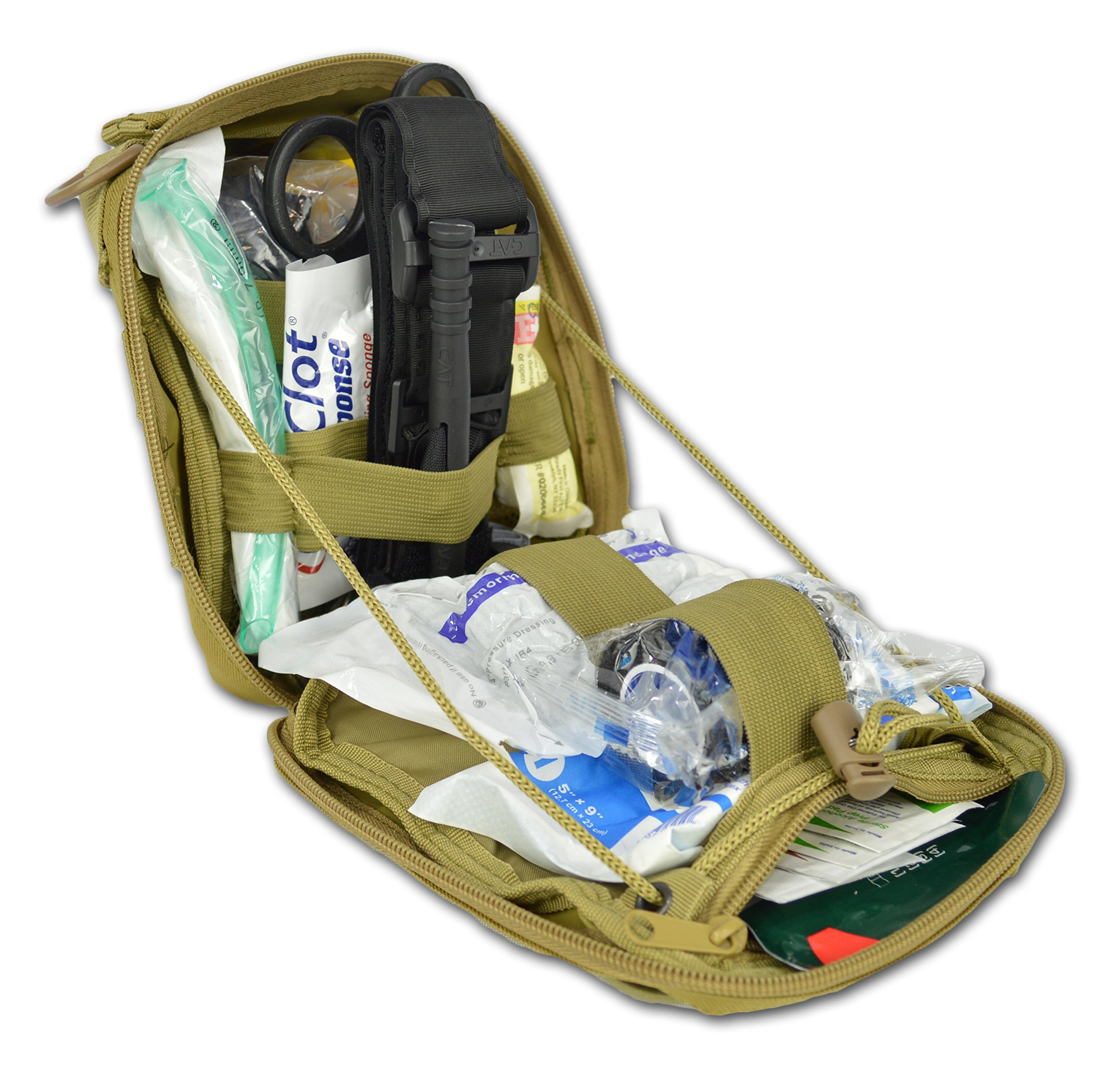 Lightning X Premium IFAK/Gunshot Trauma Bloodstop MOLLE Kit w/QuikClot & Tourniquet - TAN