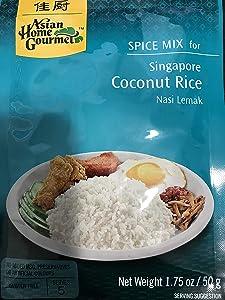 Asian Home Gourmet Spice Paste for Rice: Singapore Coconut Rice Mix (Nasi Lemak) (5 X 1.75 Oz)