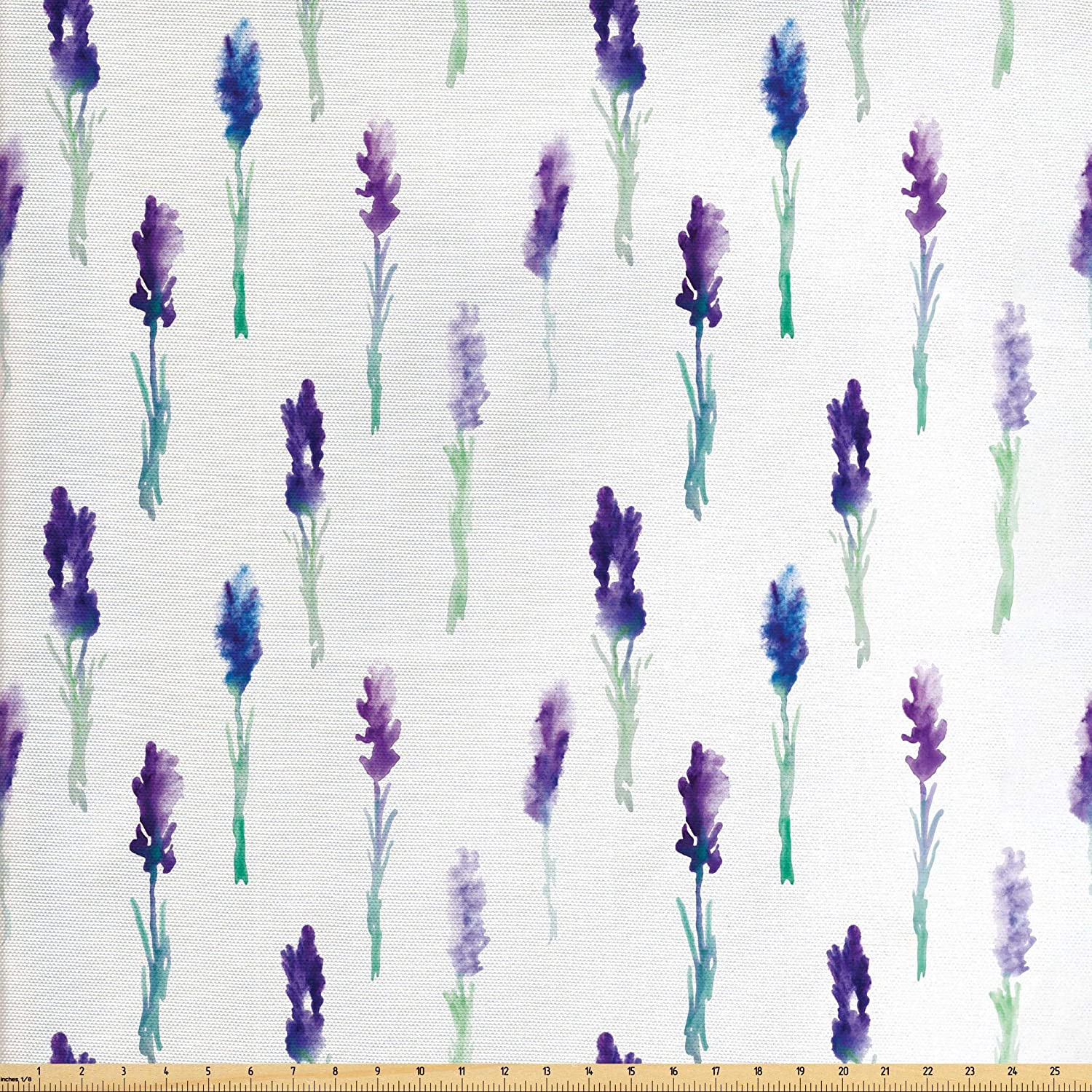 Lunarable Lavender Fabric by The Yard, Abstract Watercolor Art Style Flowers on Stems Springtime Nature, Decorative Fabric for Upholstery and Home Accents, 3 Yards, Turquoise Navy