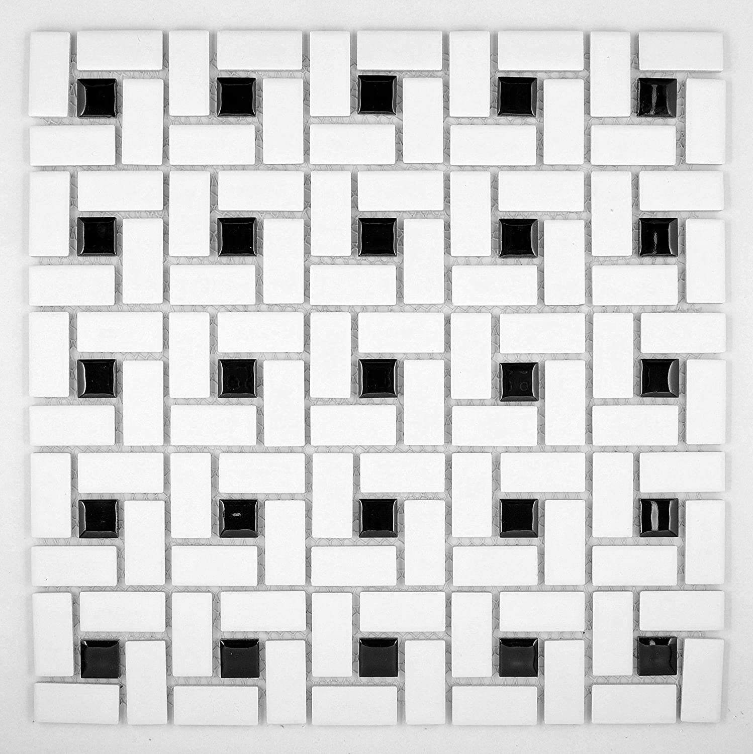 Spiral pattern porcelain pinwheel mosaic tile matte white with shiny spiral pattern porcelain pinwheel mosaic tile matte white with shiny black dots ceramic tiles amazon dailygadgetfo Image collections