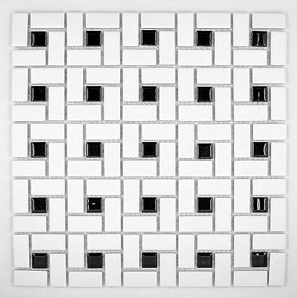 Spiral Pattern Porcelain Pinwheel Mosaic Tile Matte White With Shiny