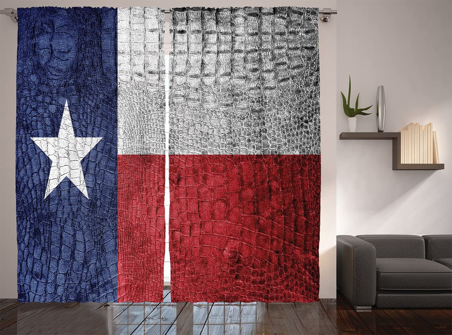 Ambesonne Western Decor Collection, Texas State Flag Painted on Luxury Crocodile Snake Skin Patriotic Emblem, Window Treatments, Living Room Bedroom Curtain Set, 108 X 84 Inches, Burgundy Navy White