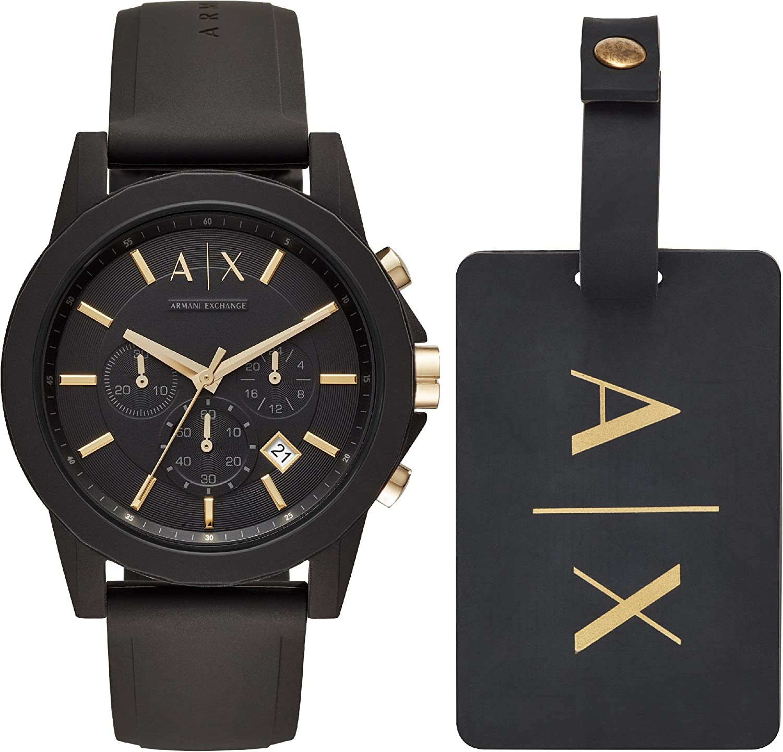 Armani Exchange Reloj Cronógrafo para Hombre de Cuarzo con Correa en Silicona AX7105