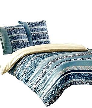 Baumwolle Bettwäsche 200x220 cm grau weiß gestreift Garnitur mit Reißverschluss