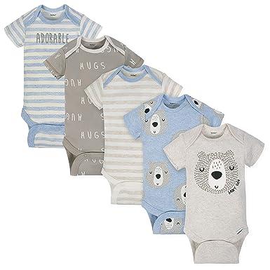 8b844172f Gerber Baby Boys 3-Pack Organic Short-Sleeve Onesies Bodysuits, Bear hugs  Newborn