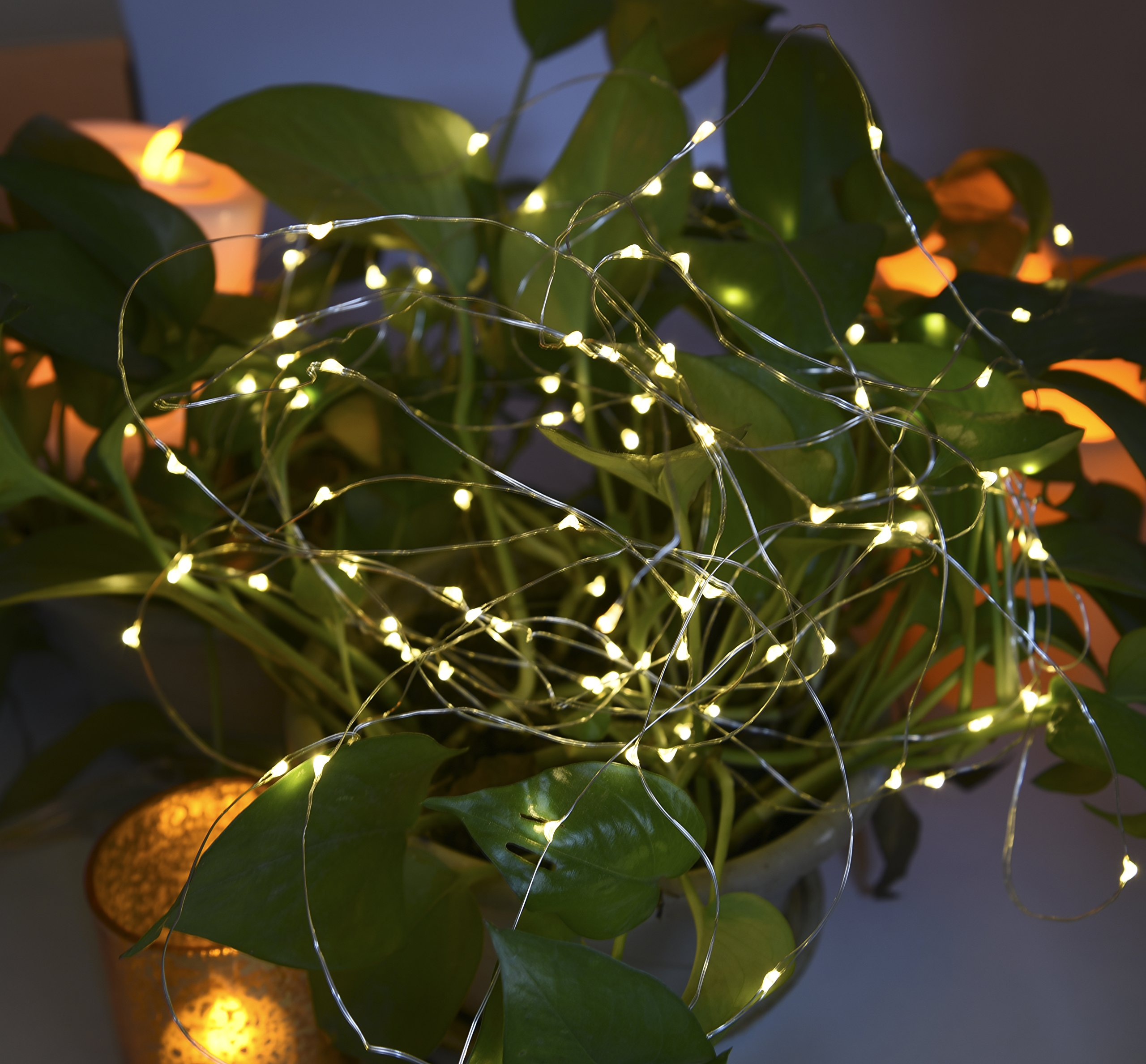 Solar String Lights,Solarmks Outdoor String Lights 100 LED Fairy Lights Waterproof Copper Wire Lights for Christmas,Patio,Lawn,Garden Decorations,Warm White,2 of Pack