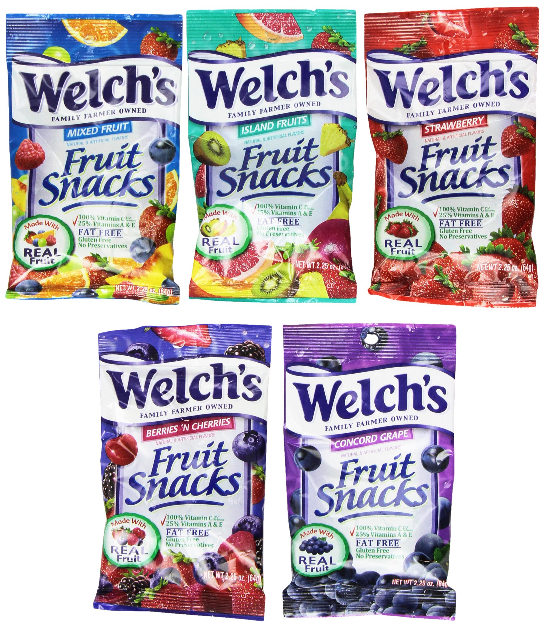 Welch's Fruit Snacks 24-2.25oz Pouches (Mixed Fruit, Strawberry, Berries 'N Cherries, Island Fruits, Concord Grape)