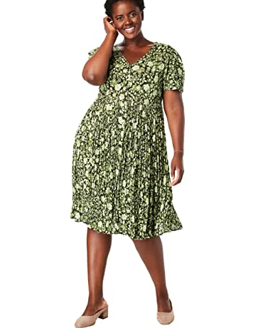 0b058ad064 Woman Within Women's Plus Size Short Button-Front Crinkle Dress