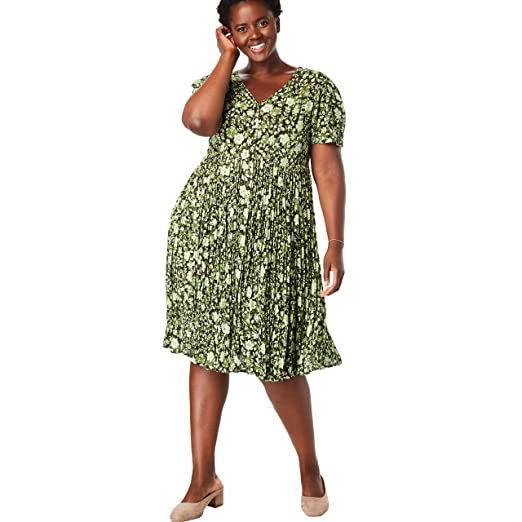 d09c4cc9903 Woman Within Women's Plus Size Short Button-Front Crinkle Dress - Green  Overlay Floral,