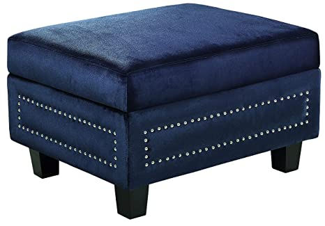 Superb Meridian Furniture 655Navy Ott Ferrara Collection Modern Contemporary Velvet Upholstered Storage Ottoman With Silver Nailhead Trim And Custom Solid Short Links Chair Design For Home Short Linksinfo