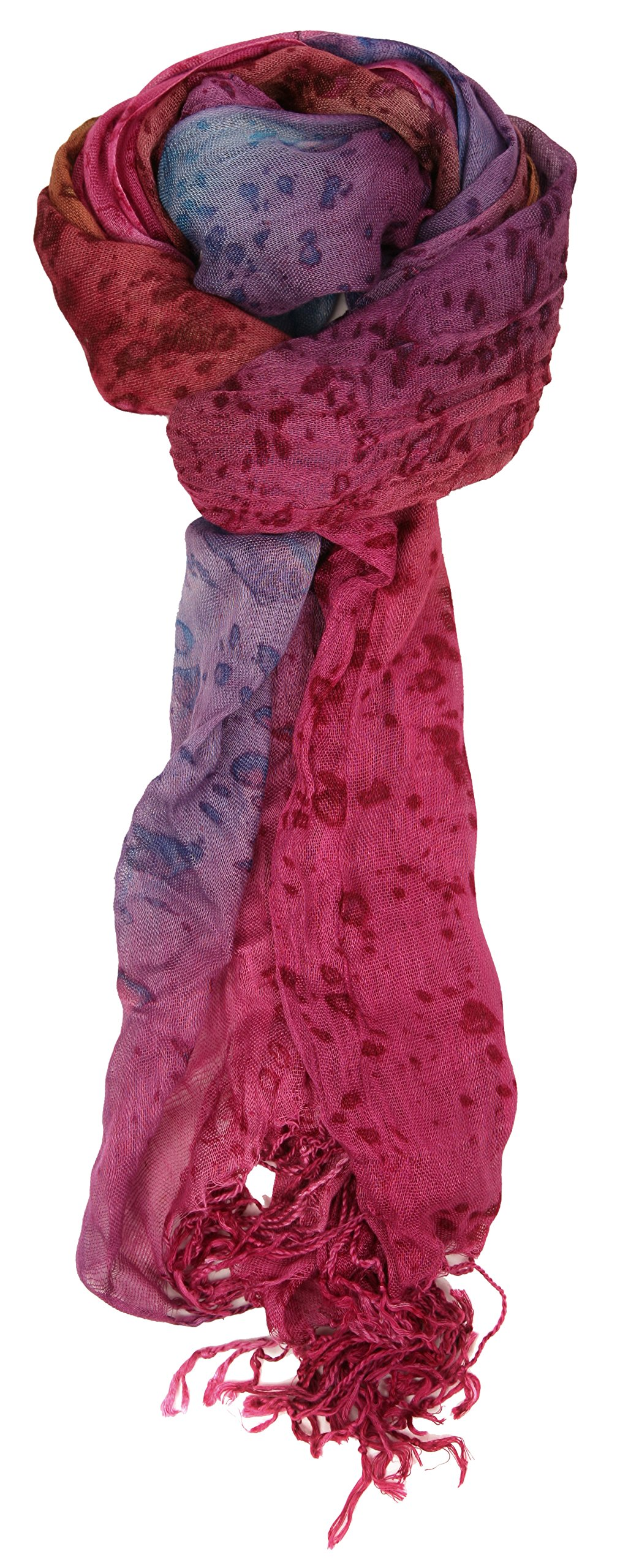 Love Lakeside-Women's Watercolor Crinkle Scarf (One, Magenta Purple)