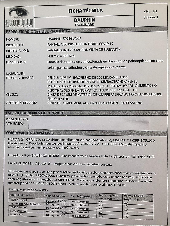 PACK DAUPHIN FACEGUARD 10 uds Antivaho Antialergico .Sanitario .Ajustable. Adulto 308 x 280 FABRICADO ESPA/ÑA Antisaliva PANTALLA PROTECCION FACIAL ALTA VISIBILIDAD Reutilizable Homologado CE