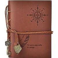 Journal Reisetagebuch Notizbuch Vintage Klassisch Tagebücher Notizbuch Reise Notebook - Blanko Seiten mit Schlüssel-Anhängern