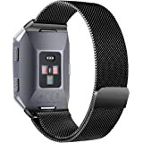 For Fitbit Ionic Watch Bands, bayite Stainless Steel Milanese Loop Metal Replacement Strap with Unique Magnet Lock Accessories for Fitbit Ionic, Small and Large for Women Men, 9 Colors (Black, Large(17cm - 20.5cm))
