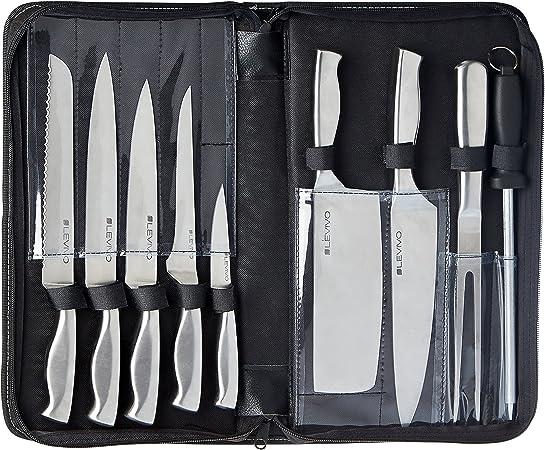 Küchenmesser 9-teiliges Profi Messerset rostfreier Edelstahl Levivo Messerset