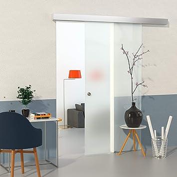Duradoor Glasschiebetur Schiebetur Glastur Satiniert 900x2050mm