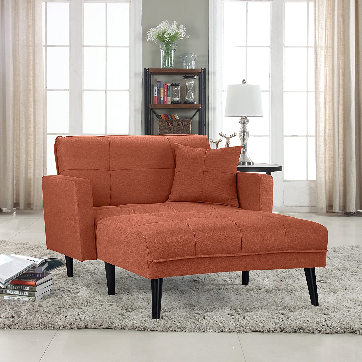 chaise lounge for living room. Modern Linen Fabric Recliner Sleeper Chaise Lounge  Futon Single Seater Orange Amazon com