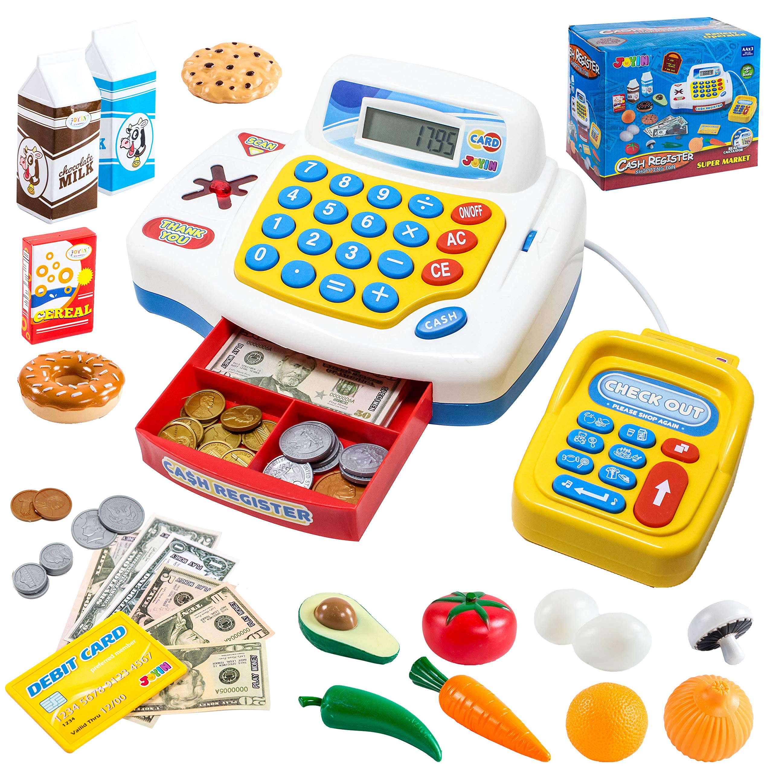 Toy Cash Register Shopping Pretend Play Money Machine with Dual Languages, Scanner, Card Reader and Grocery Play Food Set for Kids Boys and Girls Gifts, Toddler Interactive Learning, Teaching Tools. by JOYIN