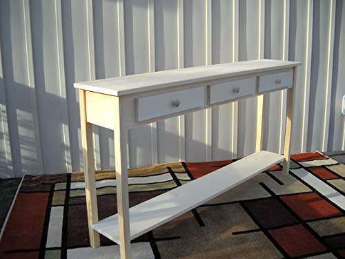 Unfinished 60 Sofa Console Shaker Style Edge Pine Table w Shelf and 3 drawers