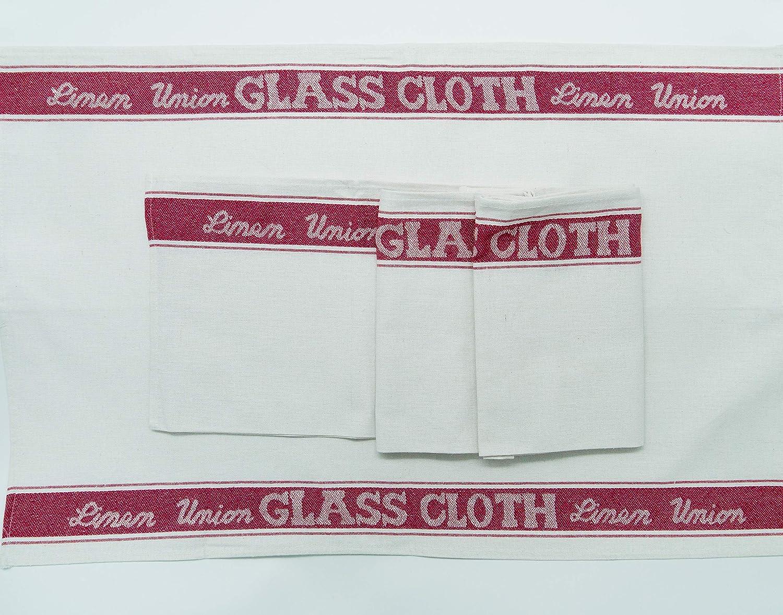 Lexs Linens Linen Union algod/ón Mixto 4 Unidades Pa/ños de Cristal 50 x 76 cm Negro X 4