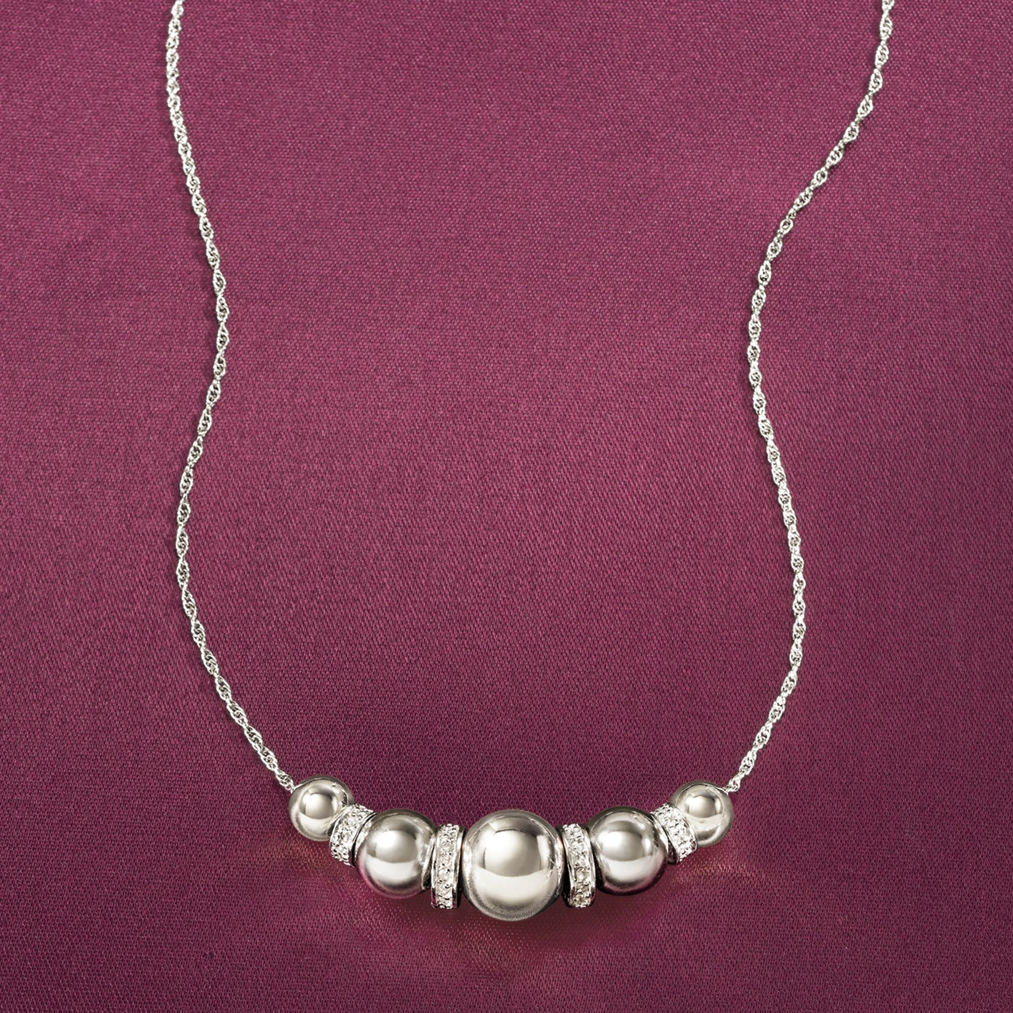 Ross-Simons 6-10mm Sterling Silver Bead Necklace With .20 ct. t.w. Diamonds by Ross-Simons (Image #5)
