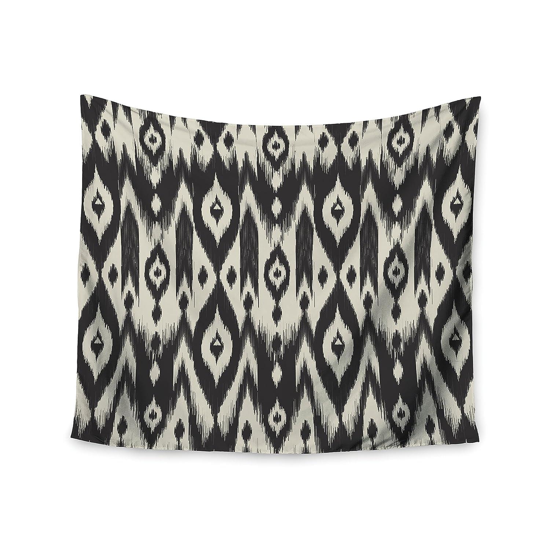 Kess InHouse Amanda Lane Black Cream Tribal Ikat Tan Dark Wall Tapestry 68 X 80