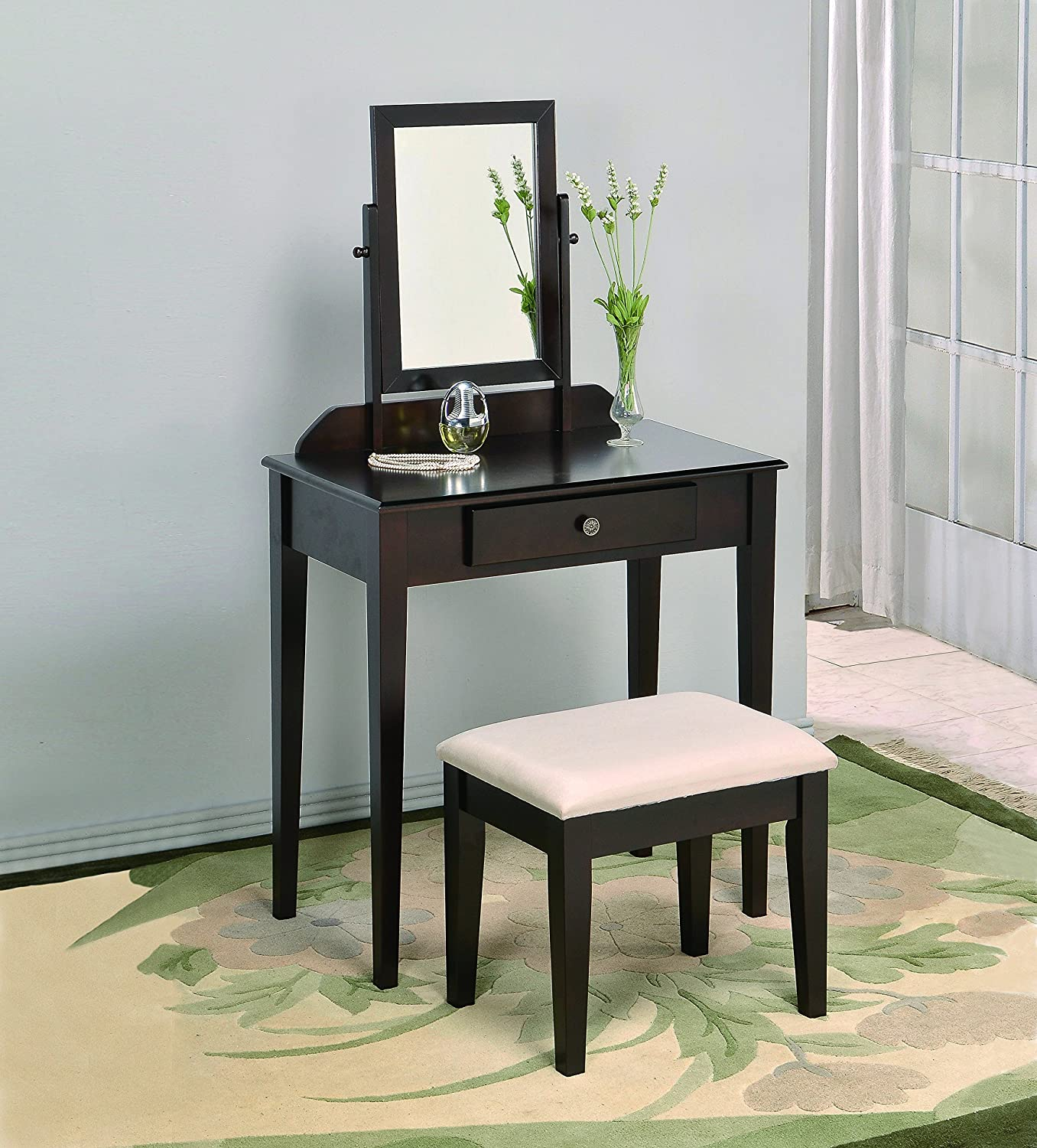 Amazoncom Crown Mark Iris Vanity TableStool Espresso Finish - Vanity table