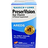 Bausch + Lomb PreserVision Vitamin and Mineral Supplement Tablets, 120 Count Bottle (Pack of 2)