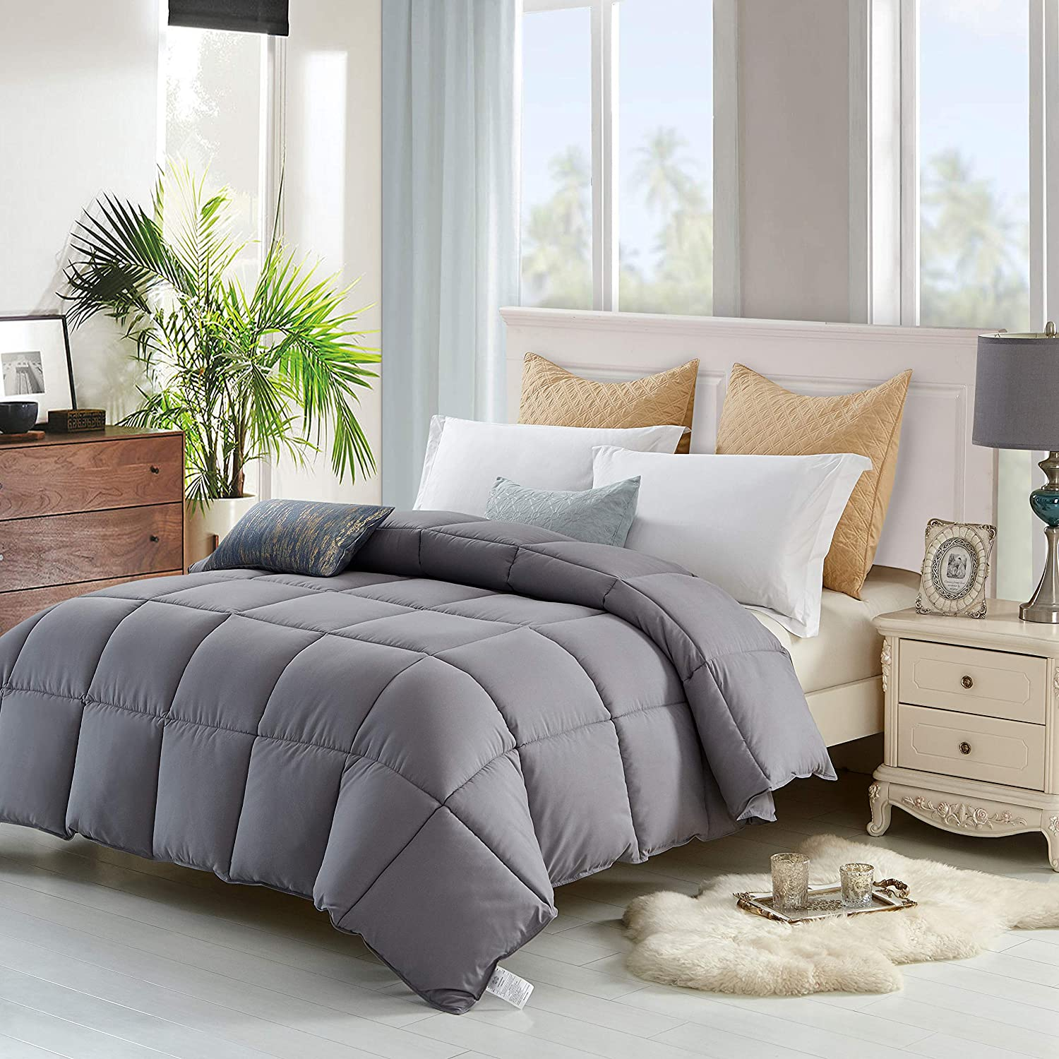 The Ultimate All Season Comforter Deal Hotel Luxury Down Alternative Comforter Duvet Insert with Tabs Washable and Hypoallergenic (Queen): Home & Kitchen
