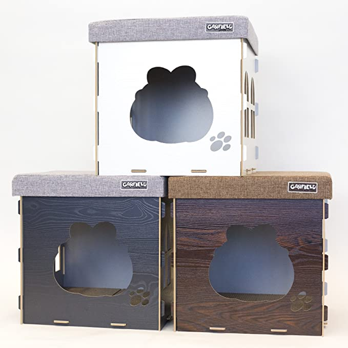 Amazon Com Garfield The Cat Tested And Approved Cat Condo Durable Wood Construction Included Scratcher Pads Doubles As An Ottoman Grey Pet Supplies