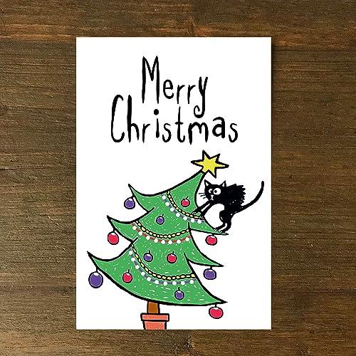 Frohe Weihnachten Katze.Karte Grußkarte Weihnachtskarte Merry Christmas Frohe Weihnachten Katze Tannenbaum Handgezeichnet