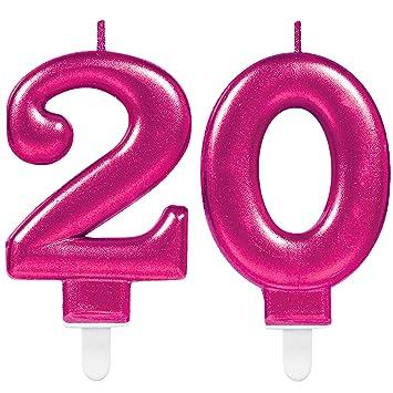 CARPETA® 2 x Número velas * Número 20 * en rosa | 11 cm x 9 ...