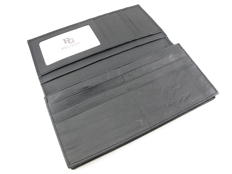 PELGIO Genuine Python Snake Skin Leather Checkbook Long Wallet Black