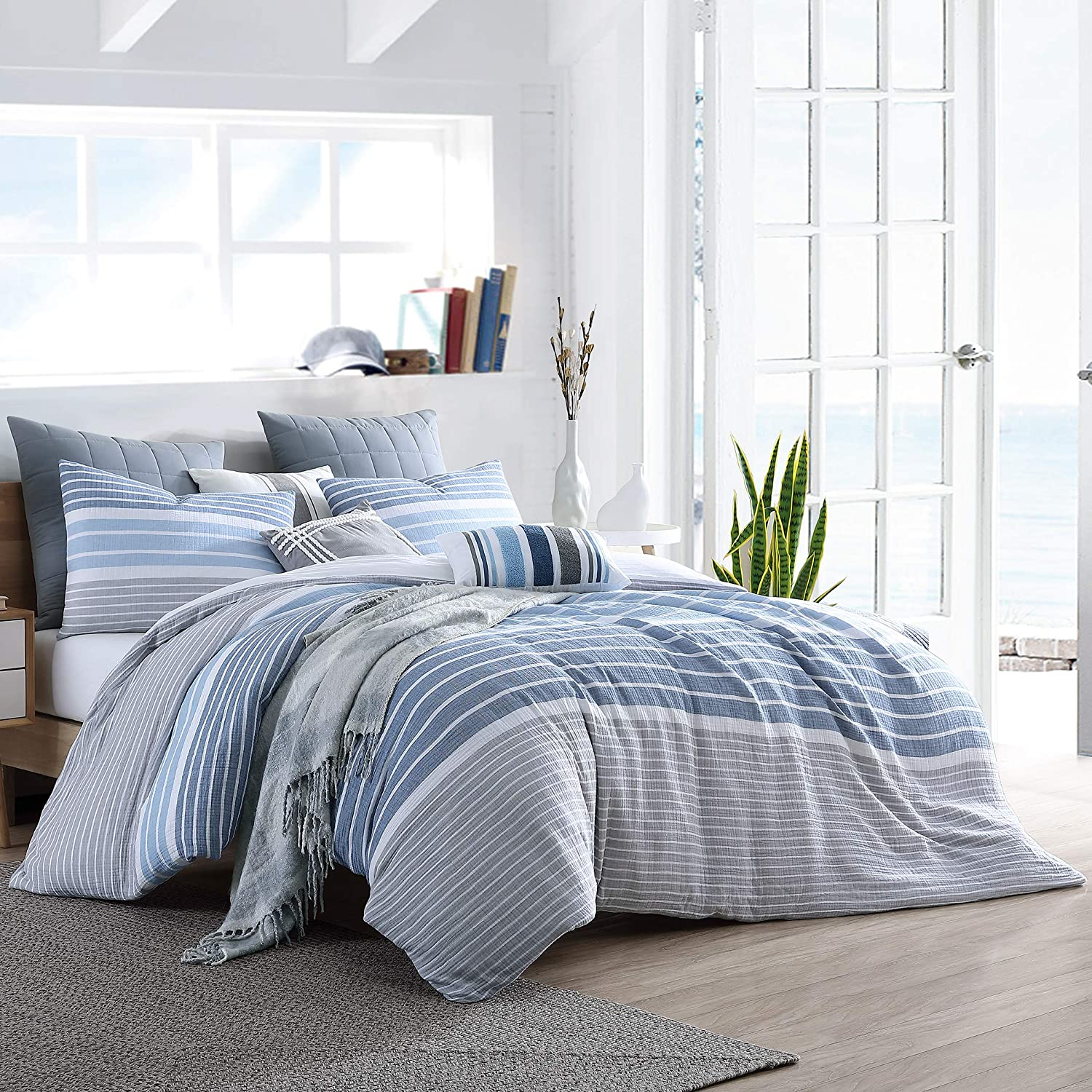 Swift Home Cordelia Prewashed Yarn-Dyed 100% Cotton Gauze Stripe Duvet Cover Set, Oeko-Tex Certified, Ultra Soft and Breathable, Button Closure, All Season - Blue, Twin/Twin XL (68