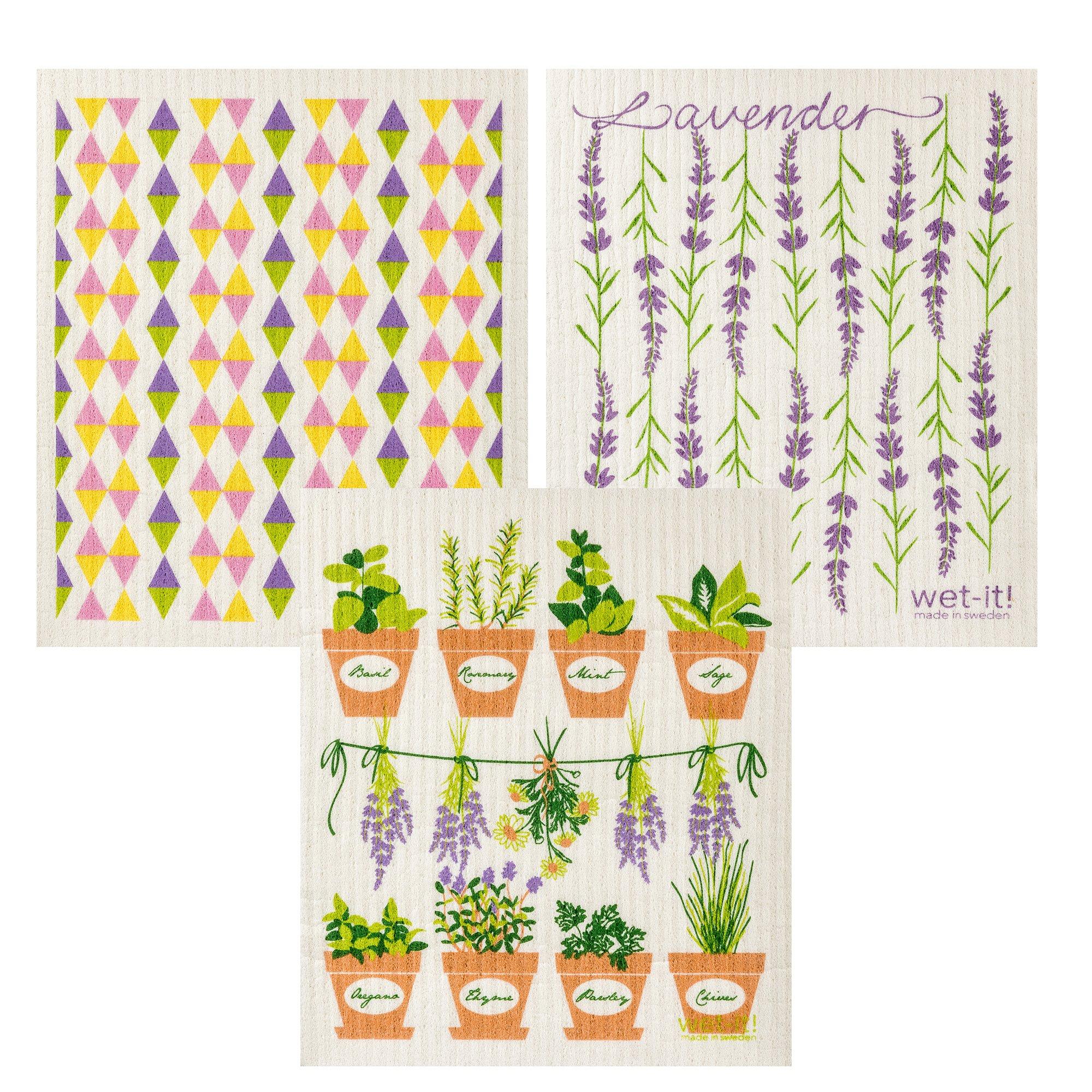 Wet-It Swedish Dishcloth Set of 3 (Lavender, Herb Pots, Pastel Triangles)